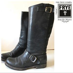 FRYE Veronica black BOOTS 7 Moto knee flat biker